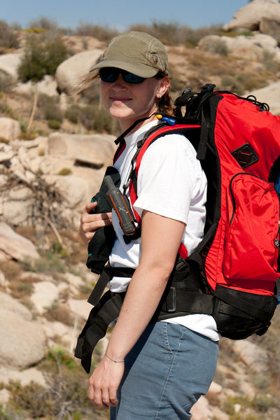 Krissy looking cool after climbing