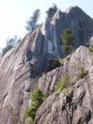 Rock Climbing Photo: climbing up to the ledge below the crux pitch
