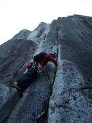 Rock Climbing Photo: Rylan starts up the stellar pitch