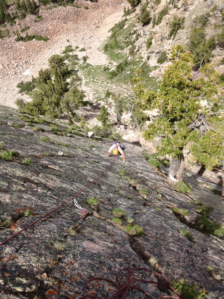 Rock Climbing Photo: Following the upper slab of Pitch #2