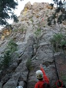 Rock Climbing Photo: Start of P1 is marked, as well as the location of ...