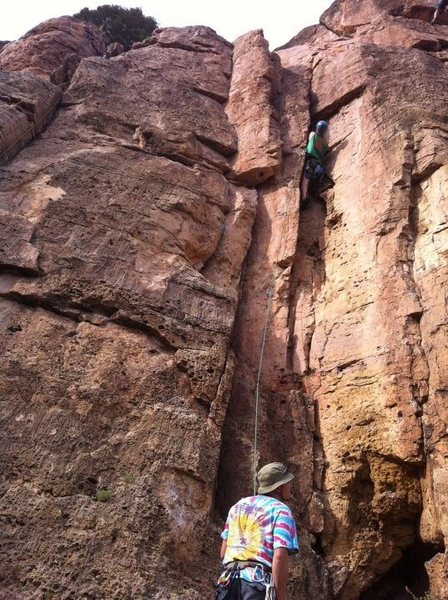 Rock Climbing Photo: Myc climbing up the right side of the fin, just be...