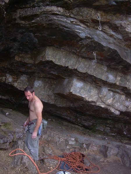 The start of Cleptomania 6c (5.11a), Greg Dotson about to lead