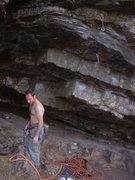 Rock Climbing Photo: The start of Cleptomania 6c (5.11a), Greg Dotson a...