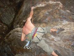 Rock Climbing Photo: Greg Dotson crushing the crux of Cleptomania