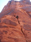 Rock Climbing Photo: Keo finishing up a nice onsight.