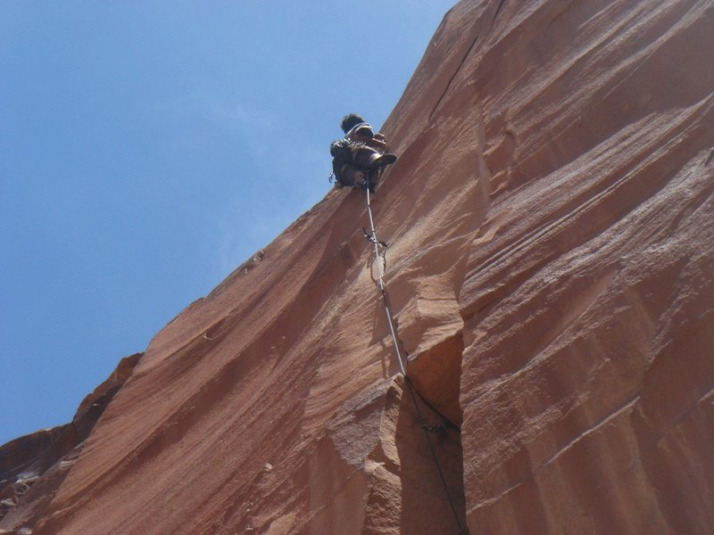 Rock Climbing Photo: Keo high on the thin final section.