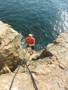 Rock Climbing Photo: Austin rappelling down