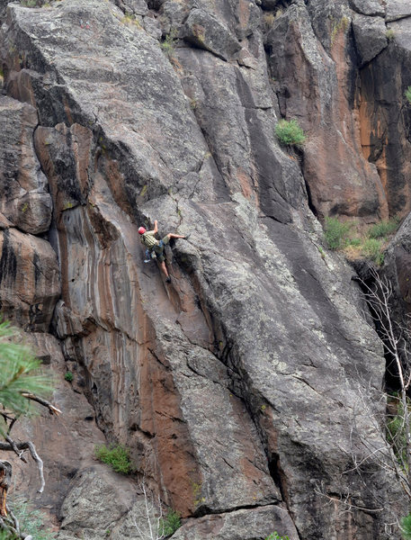 Rock Climbing Photo: Getting onto the good stuff. The crux is the roof ...