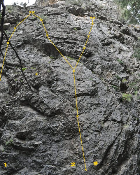 "This is the wall with ""Coming Full Circle"" on the left, and the subsequent climbs squeezed in after the FA. There are more climbs to the right on the same wall."