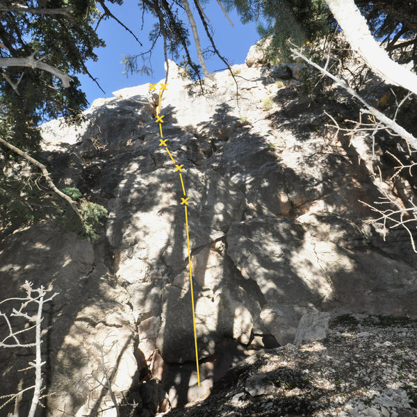 This is a little lower along the Red Wonder Wall trail just about to the end and lies down below and past the Chalk Stone. I'm told this is 5.4 climbing on less than vertical rock.