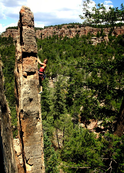 Rock Climbing Photo: Barb, very much on the 5.9 arete version of this c...