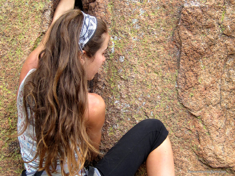 Rock Climbing Photo: Kat getting started on The Quill.