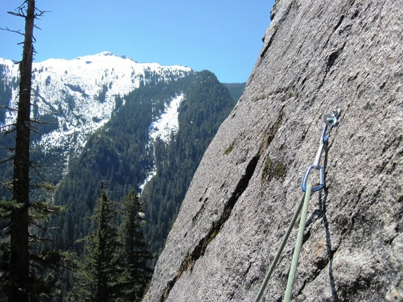 Rock Climbing Photo: Bolt on P2 of Other Side of the Tracks. The move t...