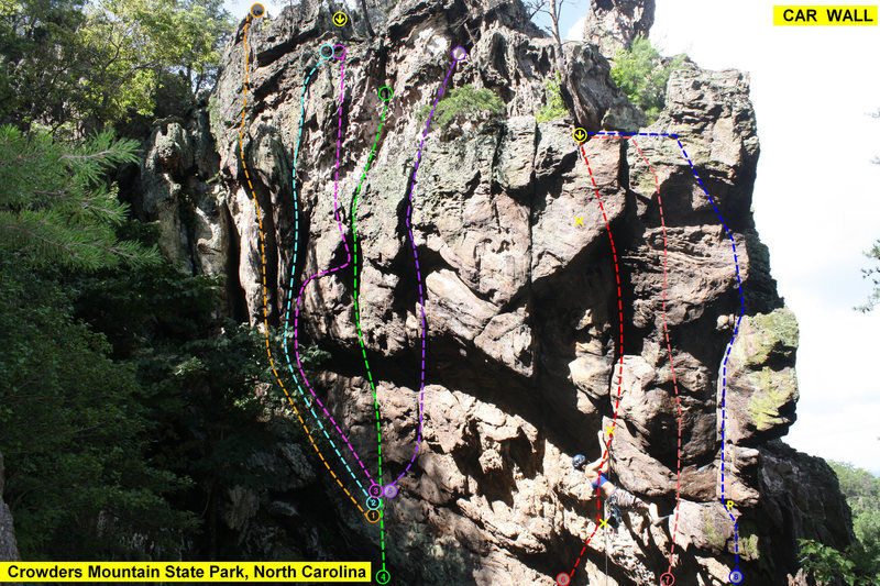 Rock Climbing Photo: CAR WALL  1)EntertainmentForMen(5.9)trad 2)Passing...