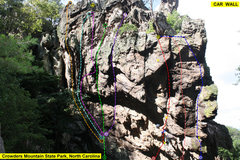 Rock Climbing Photo: CAR WALL  1)EntertainmentForMen(5.9)trad 2)Passing...
