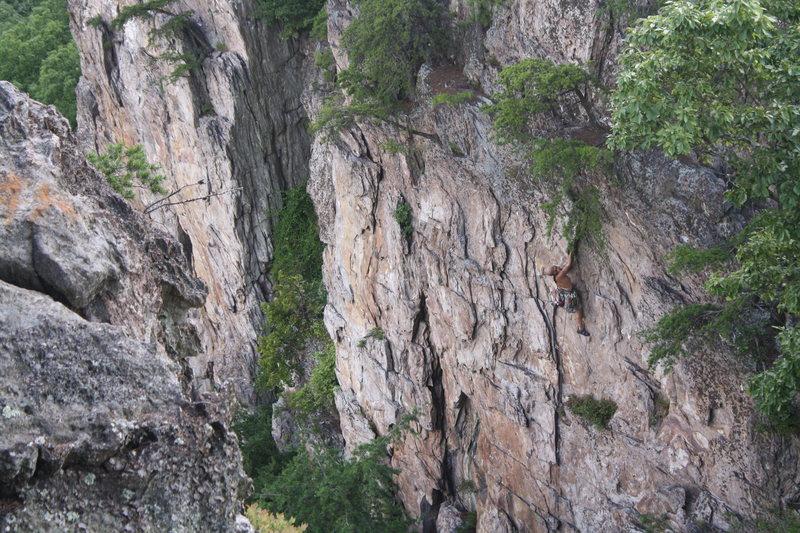 Davids Castle Wall<br> <br> Respirator (5.8 R) trad<br> <br> Crowders Mountain State Park, North Carolina