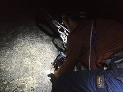 Rock Climbing Photo: Drilling in the dark to set up night Grooves for t...