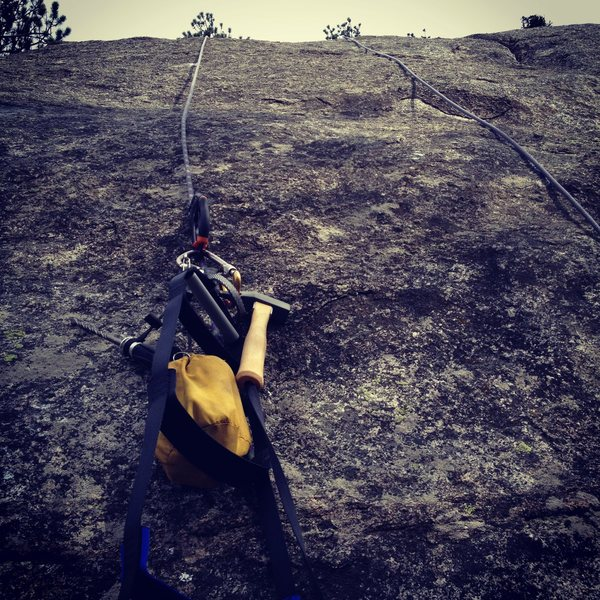 Rock Climbing Photo: Looking up from the start of Night Grooves before ...