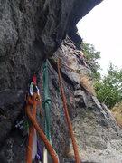 Rock Climbing Photo: High Falls-Drifting Arrow Linkup from the optional...