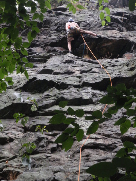 Rock Climbing Photo: The second crux at the roof on sleeping beauty.  Y...
