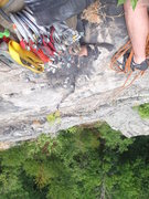 Rock Climbing Photo: Looking down at the Espresso crack from the semi-h...