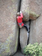 Rock Climbing Photo: Worm Drive (crux) on TR