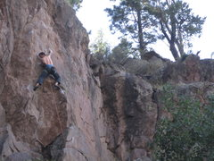 Rock Climbing Photo: The crux of Boxcar Tourist.