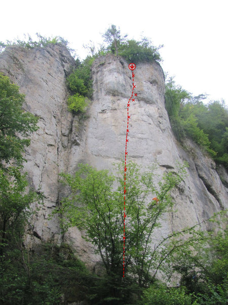 Rock Climbing Photo: The general run of the route.