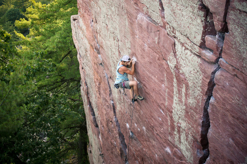 Ryan putting the TC Pros to work on the lead of Flake Route.