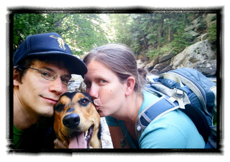 The fam.  Erin and Sadi.  Loving Dream Canyon, Boulder, CO.