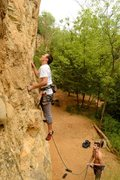 Rock Climbing Photo: opening moves before rest ledge.