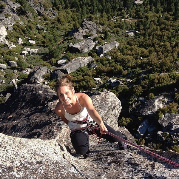 Rock Climbing Photo: Jenna rappelling off the Upper Spire after doing t...