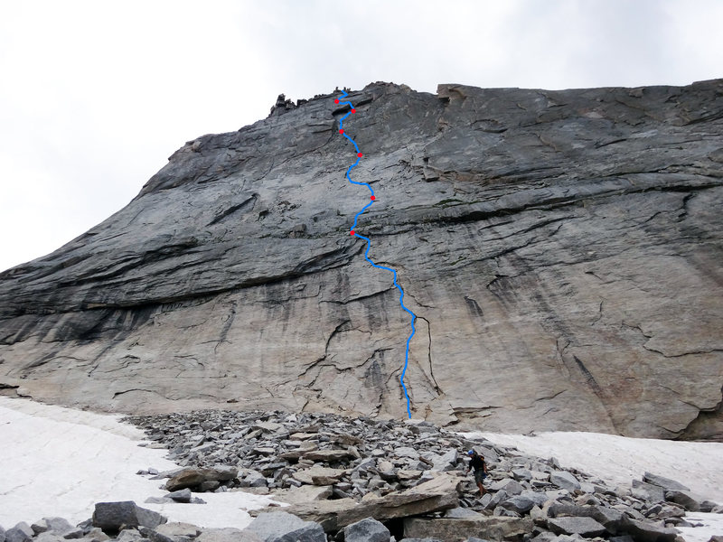 Topo showing how we pitched out Syke's.  Note that it is possible (and perhaps more common) to stay farther left on the lower portion of the runout slab (P2-P3), then angle back right across the slab higher up to reach the flakes below the giant Syke's dihedral.