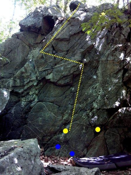 Rock Climbing Photo: Yellow are hands (start), blue are feet (start), a...