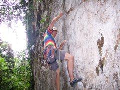 "Rock Climbing Photo: Eric Coffman starting ""Sadako"" 5.11b"