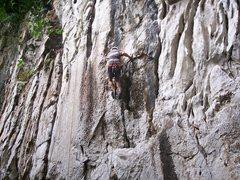"Rock Climbing Photo: Eric Coffman leading ""Sadako"" #5"