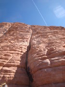 Rock Climbing Photo: A shot looking up at the second pitch of Mans Best...