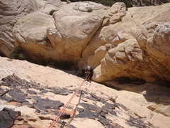 Rock Climbing Photo: The Lovely Cyn working her way down the first pitc...