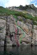 Rock Climbing Photo: 2 routes we did, many more exist. 1 (red):  Crim t...