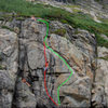 2 routes we did, many more exist.<br> 1 (red):  Crim the Crimp, 10-.<br> 2 (green): Steeze the Gnar, 9+.