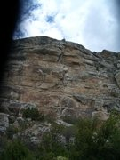 Rock Climbing Photo: Route heads up flakes and edges to the obvious cor...