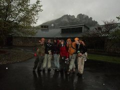 Rock Climbing Photo: Good friends after a wet descent from the east sid...