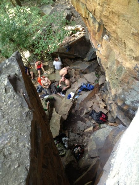 Belay hangout at the base of supercrack 5.9, New River Gorge