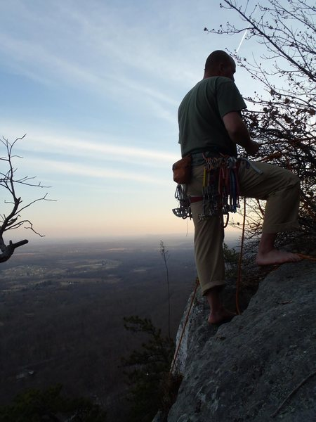 Justin at the top of Wrist, 5.6, Gunks