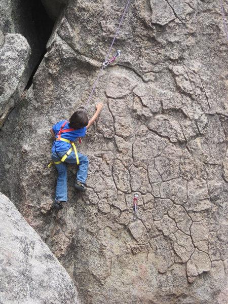 Rock Climbing Photo: Bryn (8) following.