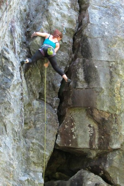 """Rock Climbing Photo: Tegan on what we call a """"Rumney runout"""" ..."""