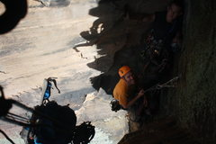 Rock Climbing Photo: Me and Chris waiting for Austin to jug up p3 so we...