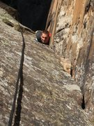 Rock Climbing Photo: Chris sussing out the crux corner of P3.