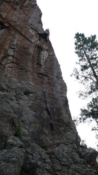 Rock Climbing Photo: Through the fun, delicate, tricky section, into cr...